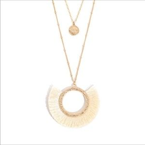Bermuda Ivory and Gold Tassel Pendant Necklace